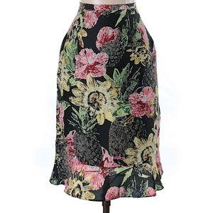 Harve Benard Silk Floral Midi Skirt